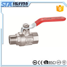 ART.1002 male/female high quality with long iron handle brass ball valve and fitting sand blast 600 wog and CE approved