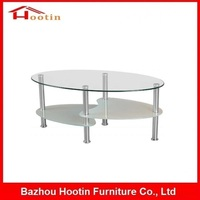 High Quality 3 Tier Transparent Glass Round Heart Shaped End Table