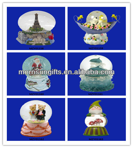 Custom Large Christmas Rotating Train and Mountain Village Snow Globe