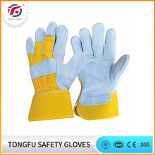 logo printing gloves cow split leather working glove