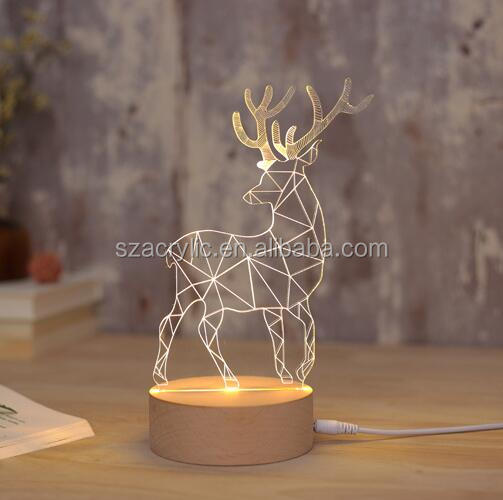 acrylic 3d led night light gift for christmas