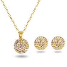 New Fashion Diamond Lady Necklace Earrings Jewelry Set Wholesale