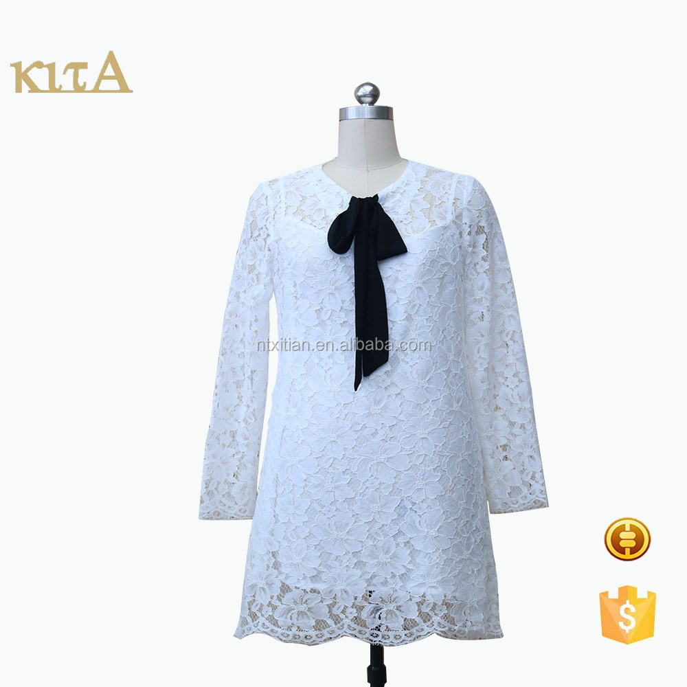 The new Lady's long-sleeve elegant lace dress