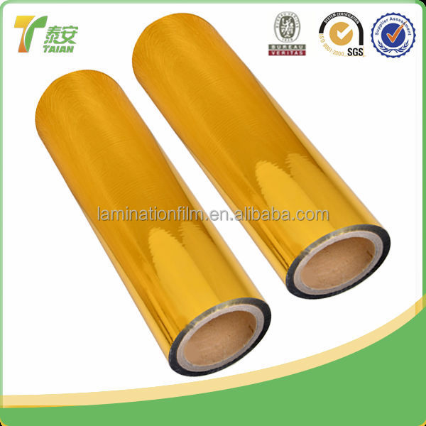 High Glossy Gold PET Metalized Thermal Lamination Film Corona Treatment
