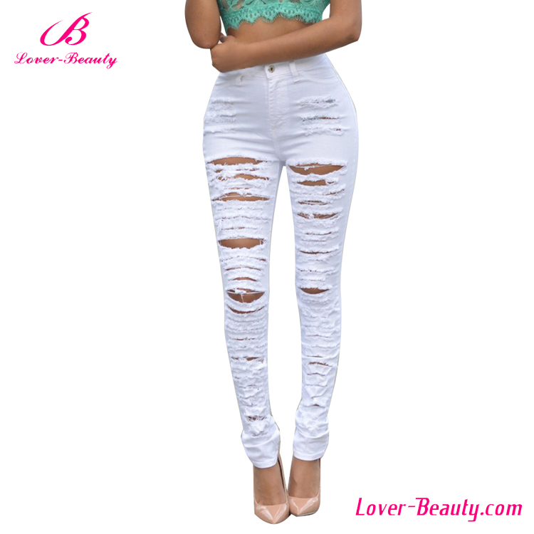Hot sale hollow out sexy tight white pants for women