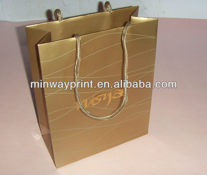 luxury gold color handle shopping paper bag with high quality
