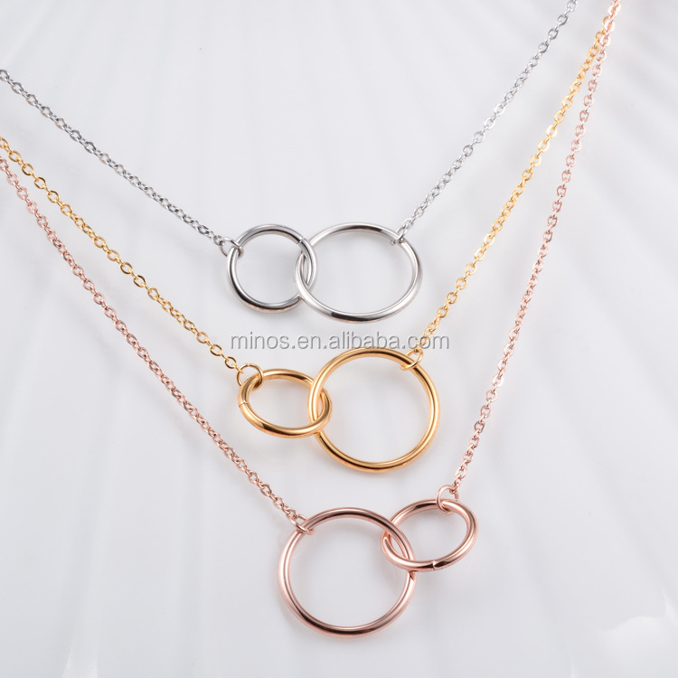 Gold Plated Double Circle Necklaces Stainless Steel Choker Necklace Women Jewelry