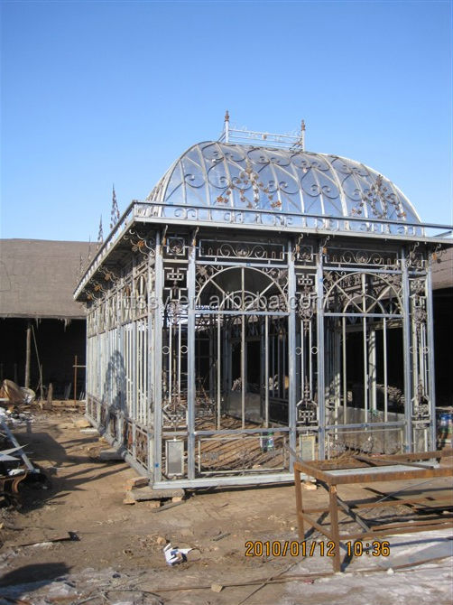 Big Green Wrought Iron Gazebo with Glass