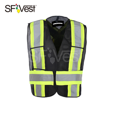 Man 100% Polyester Mesh Roadway 5 point Breakaway Canada Black Hi Vis Safety Vest