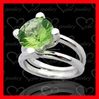 Top quality luxury jewelry emerald stone 925 sterling silver ring for ladies