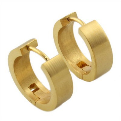 SJ Fine Jewelry Smooth Solid Yellow Circle Stainless Steel Women Huggie Hoop Stud Earrings