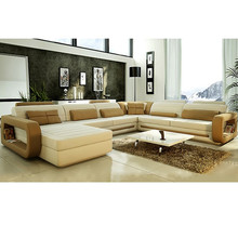 Lifestyle living furniture U shape leather big size sofa with mixed leather colors