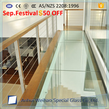 Factory custom thick triple and double wall clear tempered laminated glass for floor