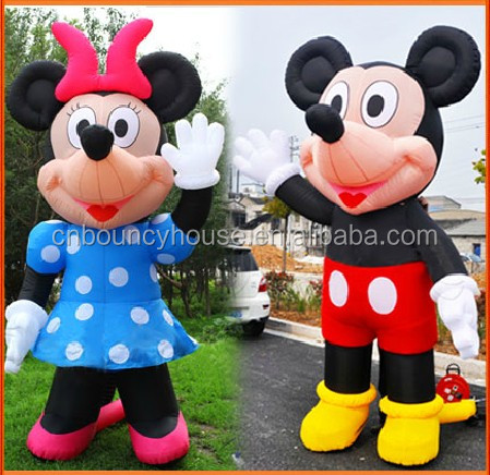 Customized Cute Model Cartoon Moving Advertising Inflatables with double & triple stitches