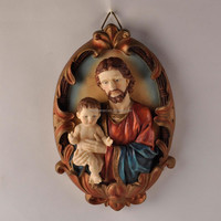 resin religious wall hanging of the father and the son art sculpture