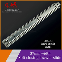 37mm Soft close ball bearing drawer slide,telescopic slide track