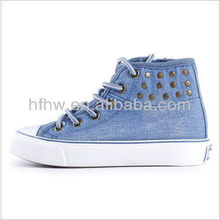 Children's autumn new canvas shoes high-top lace denim shoes