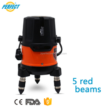 CE brand factory new cross line portable red beam 5 lines automatic self leveling 90 laser level for flooring and decoration