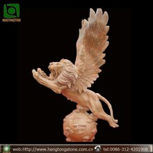 Marble Winged Lion Statues