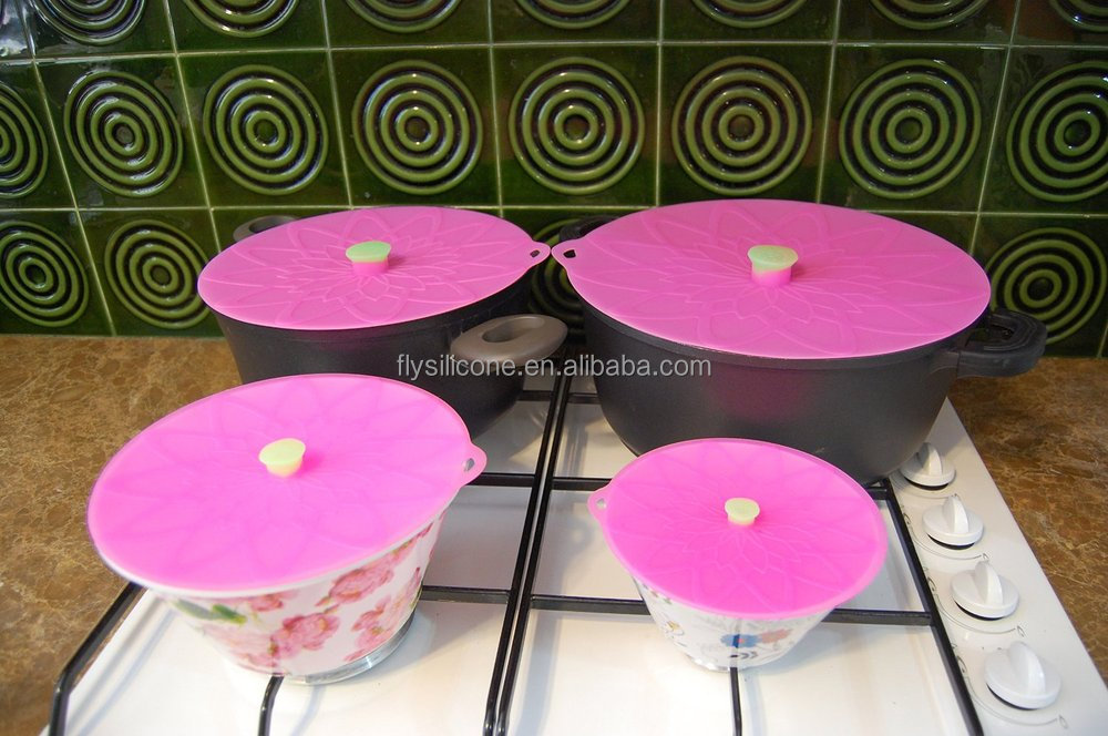 New Arrival Flower Shape Round Silicone Vacuum Lids For Bowls, Cans, Pots