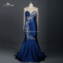 RE037 Navy Blue Elegant Full Figure Real Sample Pictures New Long Party Evening Dresses With Long Sleeve