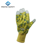 floral printed cotton back matched-color knitted wrist Leather Work Gloves