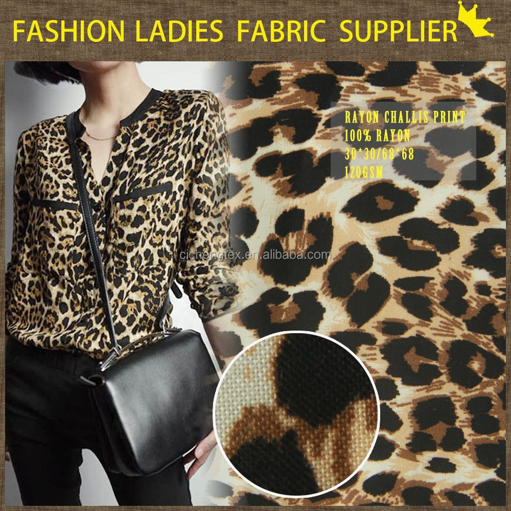 new 97%cotton3% stretch high fashion animal print ladies pants fabric cotton stretch twill fabric