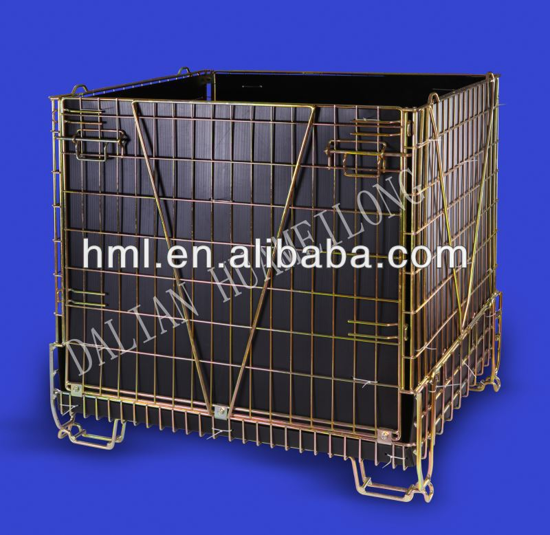 Returnable Collapsible storage cage pallet For Recycle Industry
