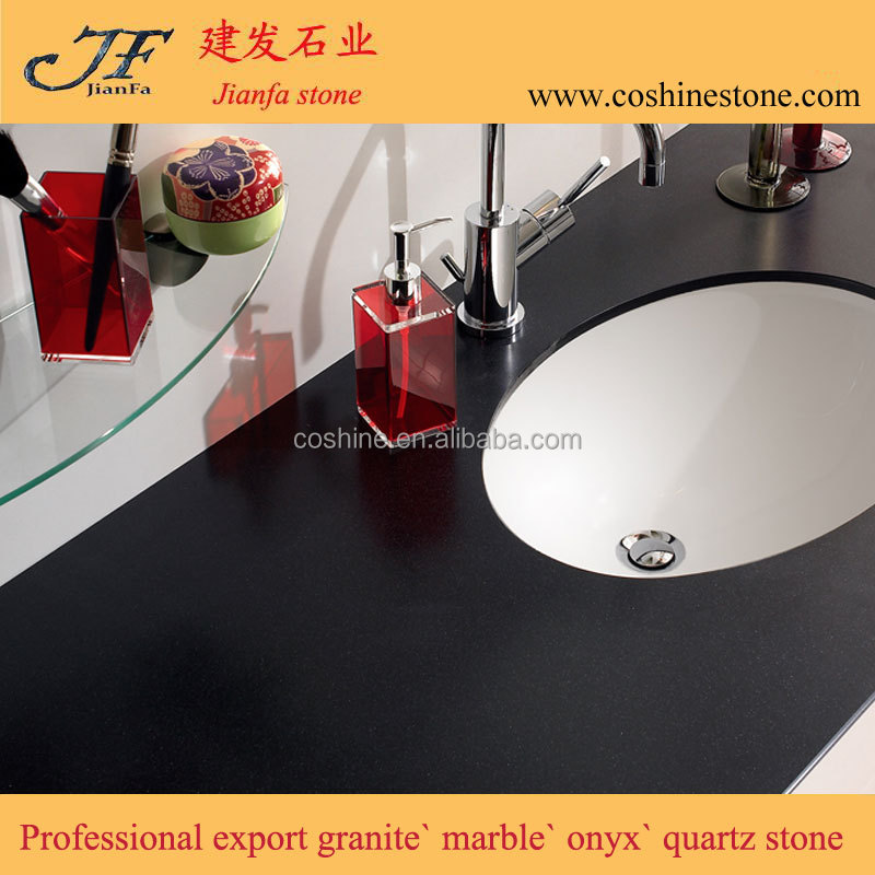 More popular hotel bathroom black color quartz vanity tops