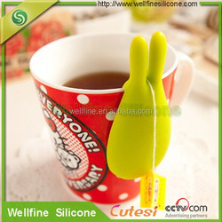 2016 new arrived rabbit silicone hang for tea bag