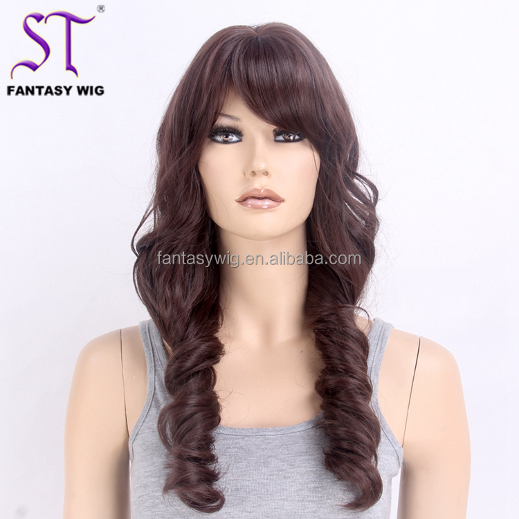 Two Braiding Hair Synthetic Long Big Curl Natural Brown Best Quality Sensational Wigs Wholesale