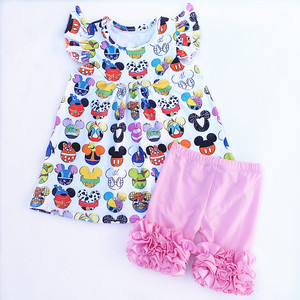 Baby Girls Clothing Set Cute Printed Dress Ruffle Shorts Kids Boutique Summer Girls Set