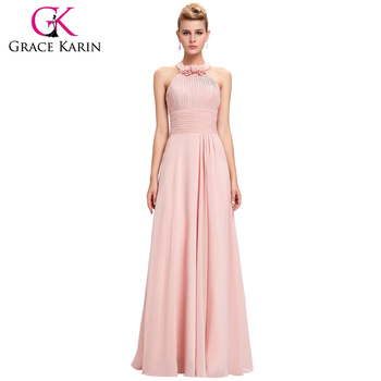 Grace Karin 2016 Full-Length Backless Halter Simply Chiffon Pink Long Bridesmaid Dress 8 Size US 2~16 GK000073-1
