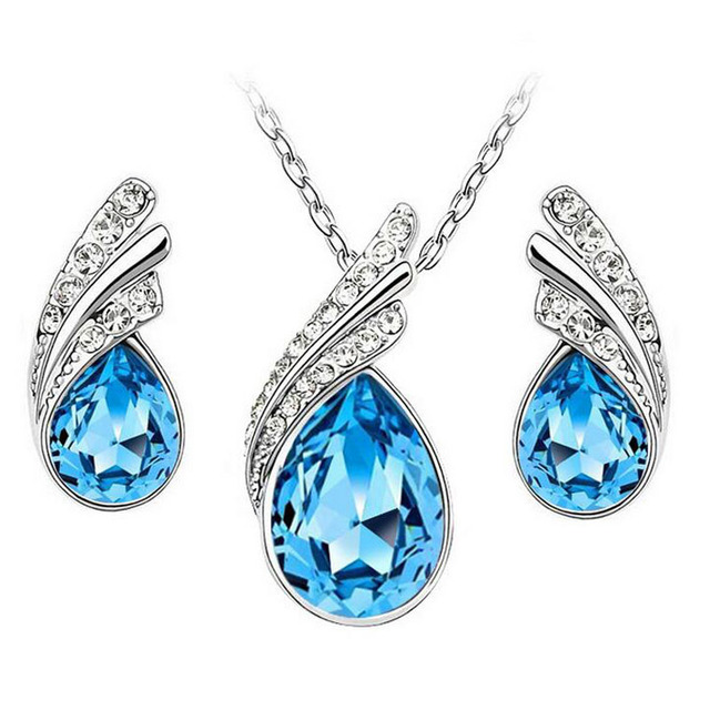 Cheap Crystal Jewelry Sets hot Sale Silver Plated Alloy Jewelry Sets