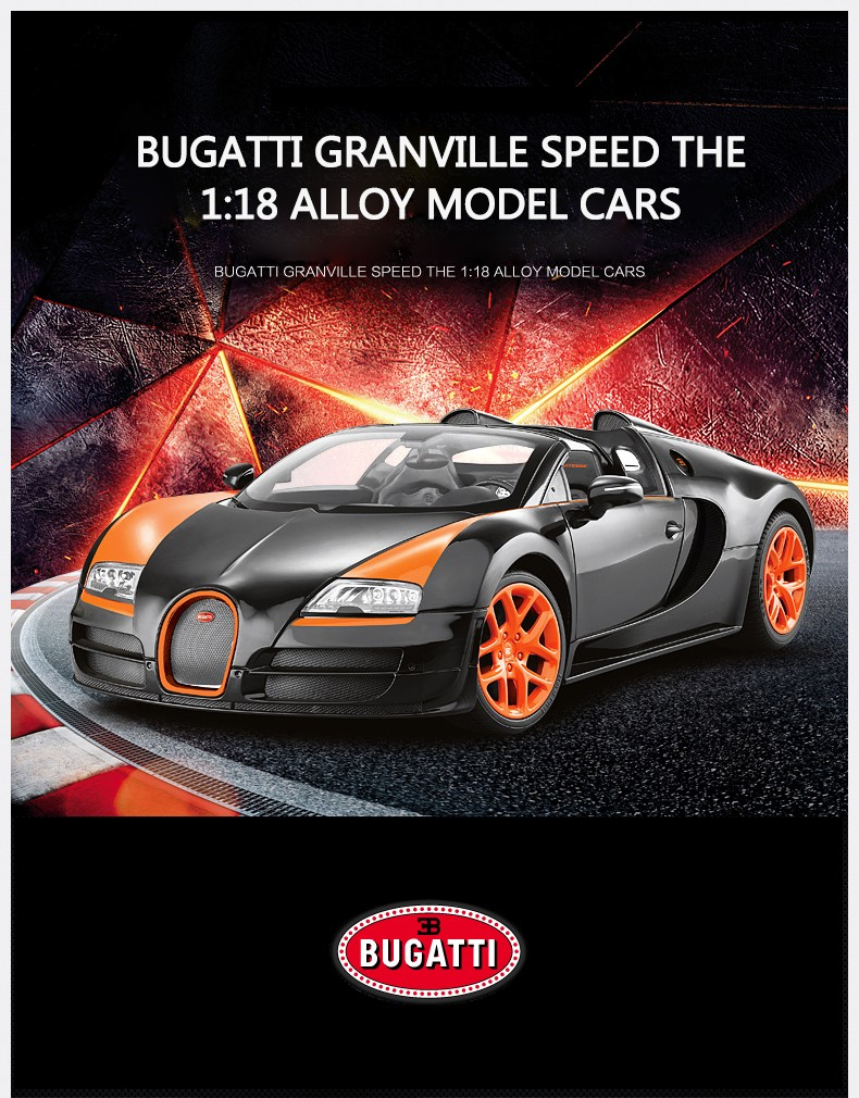 BUGATTI original car license Rastar diecast car 1:18 model die cast metal car toy