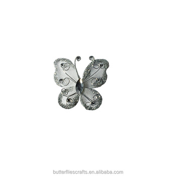 Silvery Organza Butterfly Craft for floral arrangement and wedding decorations