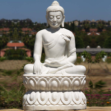 large outdoor sculptures marble carving white sitting buddha statue