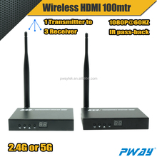 PWAY wireless HDMI 5Ghz transmitter receiver 100m 1080P, 2.4G 200m, with IR and local Loop-out