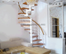 Cheap price design carbon steel wood indoor spiral stair