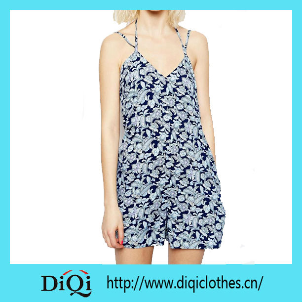 2015 Romper Playsuit in Floral Print Woman Garments Sleeveless