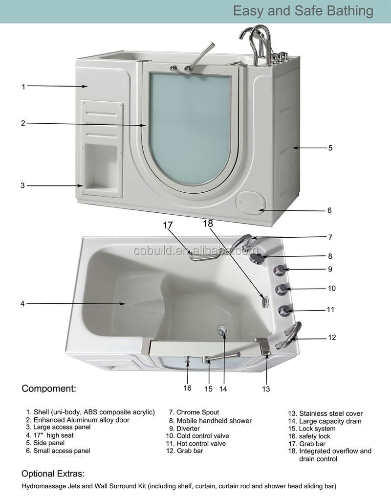 PM-LFCR Solid surface walk in bathtub with racks two person walk-in tub safe bathtubs for seniors