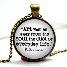 Pablo Picasso Quote Art washes away from the soul the dust Art Jewelry Artist Necklace Pablo Picasso