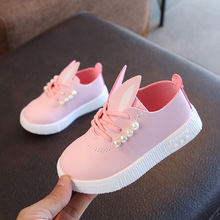 Hot selling cute cartoon rabbit ears pearl children girl shoes
