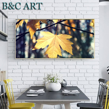 Nordic Style Yellow Maple Tree Single Acrylic Landscape Paintings Art on Canvas