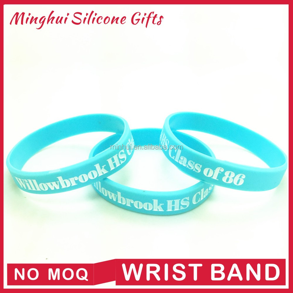 Party souvenirs cheap custom silicone wristbands no minimum for classmate