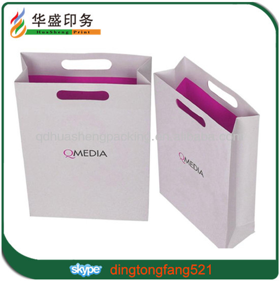 Custom classy cheaper paper bag with die cut handle