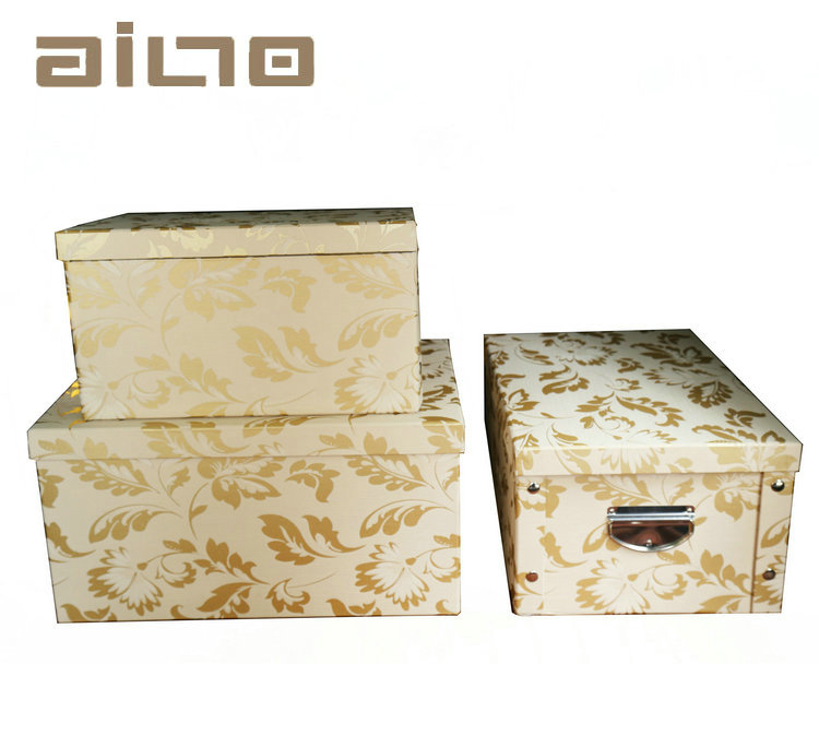 Best selling Eco-friendly moisture proof PU foldable storage box / folding storage box with metal button