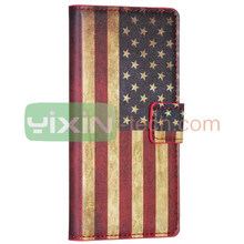 Retro US Flag Pattern Stand Wallet Leather case for huawei ascend p6