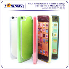 For iPhone 5C Leather Flip Folio Case with Clear cover