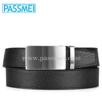 Men's Genuine Leather Adjustable Automatic Buckle Belt with OEM Laser Logo